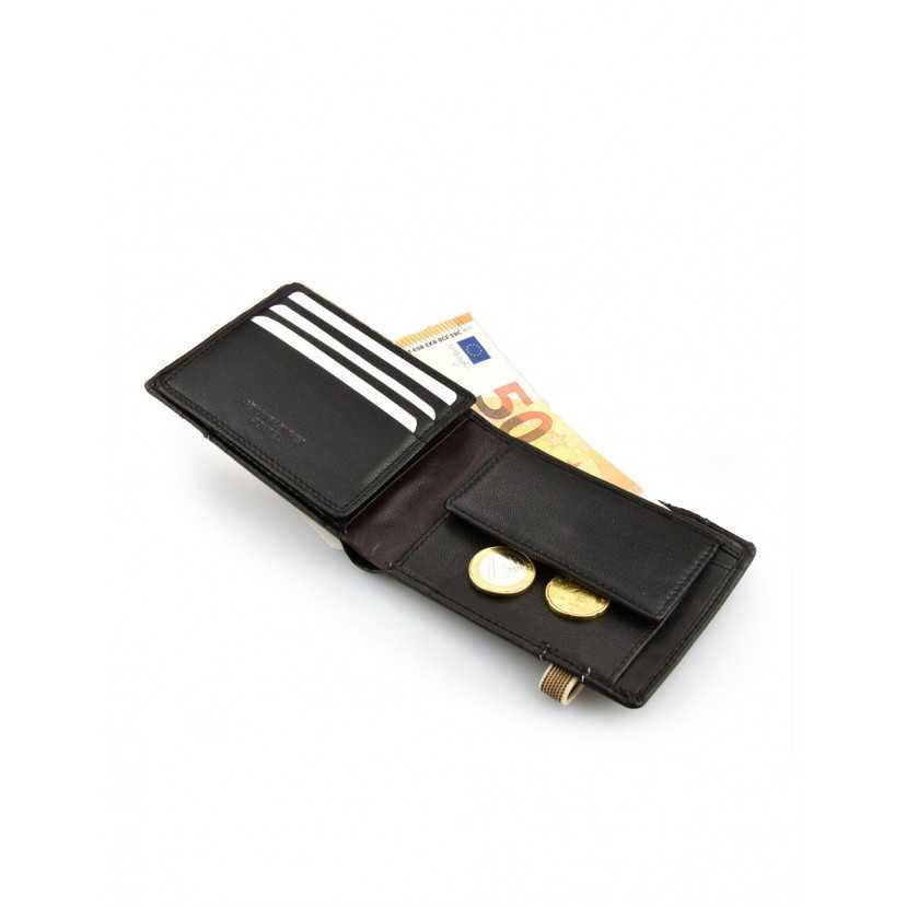 Bifold leather wallet with elastic band