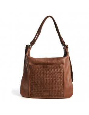 Bolso mochila de piel para mujer Monpiel Marrón Frontal Bolso