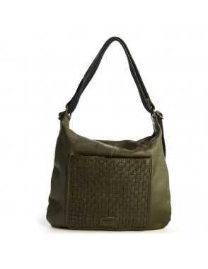 Bolso mochila de piel para mujer Monpiel Verde Frontal Bolso