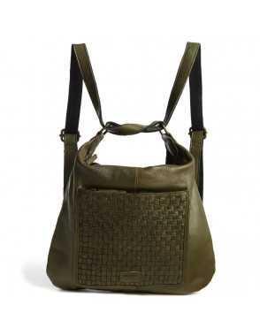 Bolso mochila de piel para mujer Monpiel Verde Frontal Mochila MONPIEL
