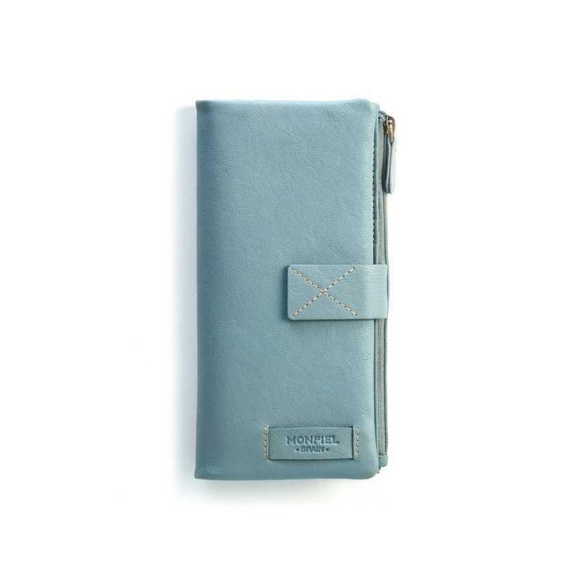 Cartera Broche y Monedero - Cremallera Lisa XL Azul Frontal.