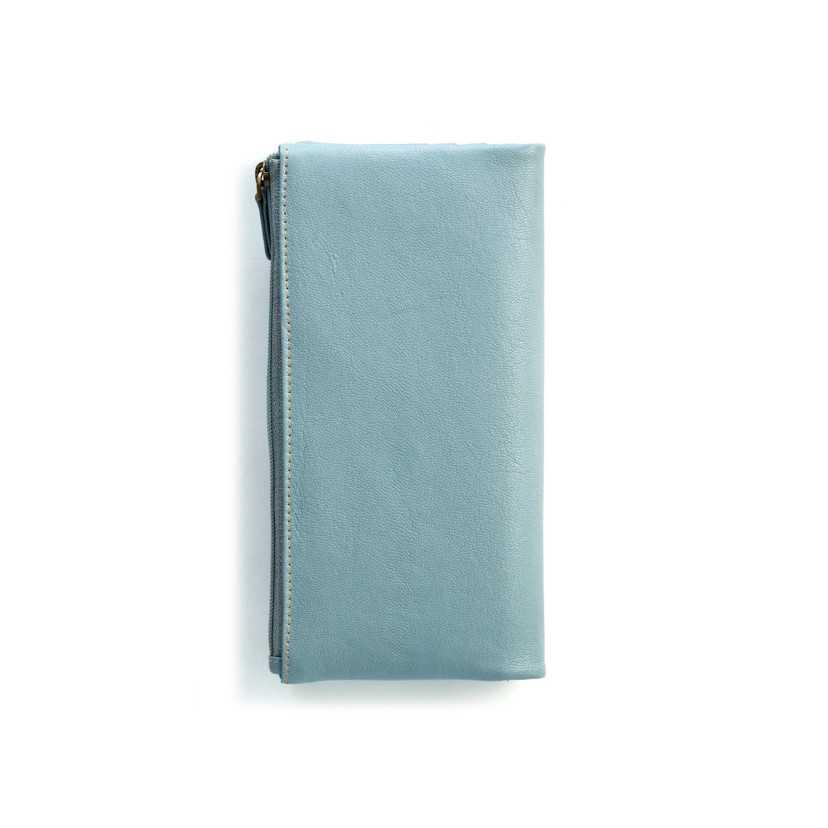 Cartera Broche y Monedero - Cremallera Lisa XL Azul Trasera.