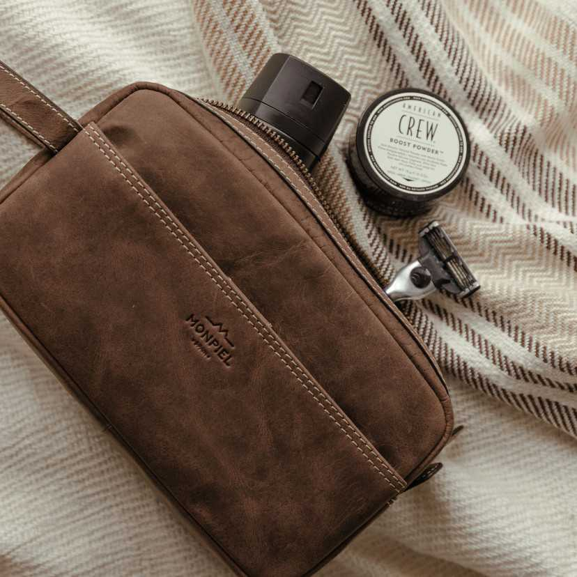 Men's leather toiletry bag - Handbag...