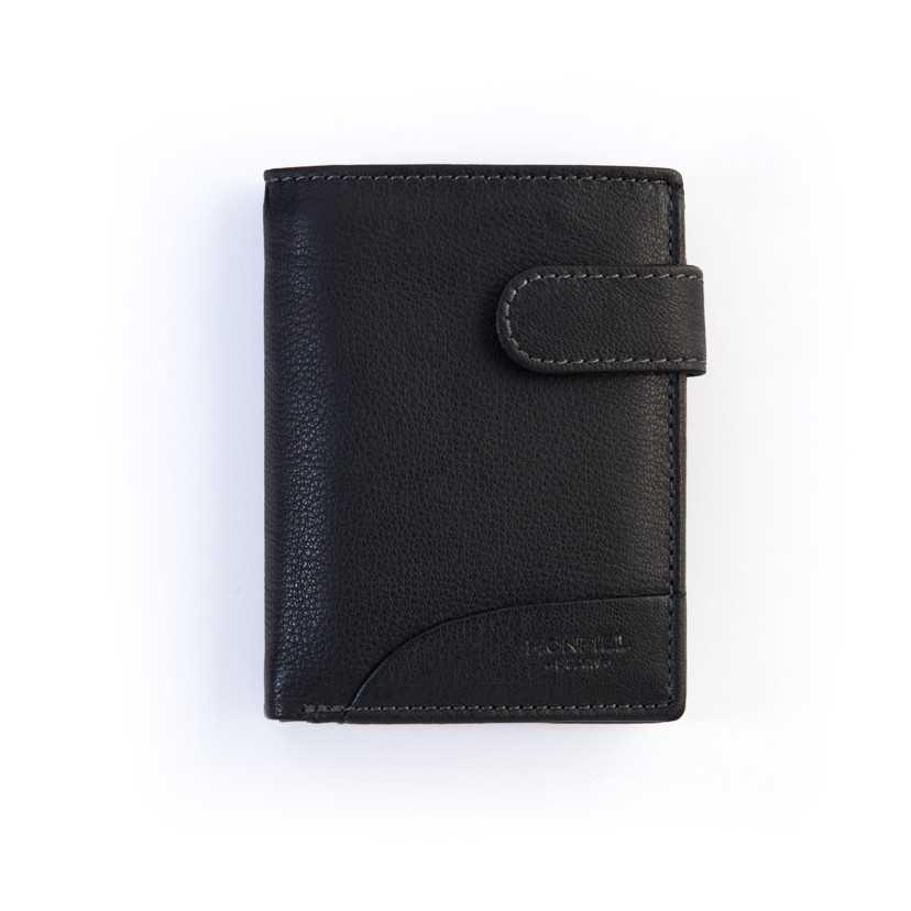cartera de piel con broche negra