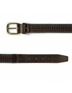 Leather & Canvas Belt - Grey