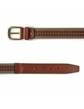 Cinturón Lona y Cuero - Beige