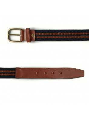 Leather & Canvas Belt - Marino