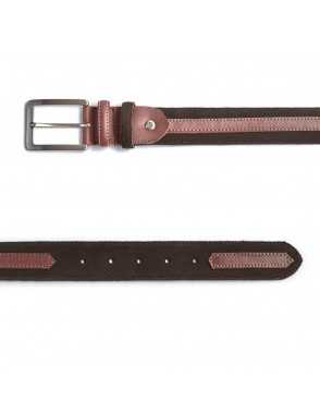 Suede belt with strap - Brown