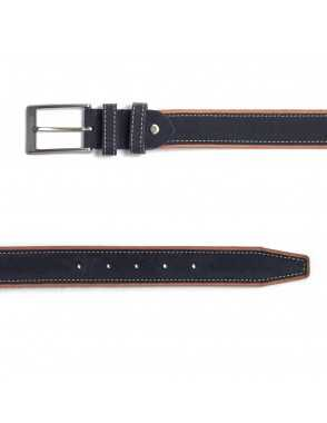 Man suede leather belt - Blue