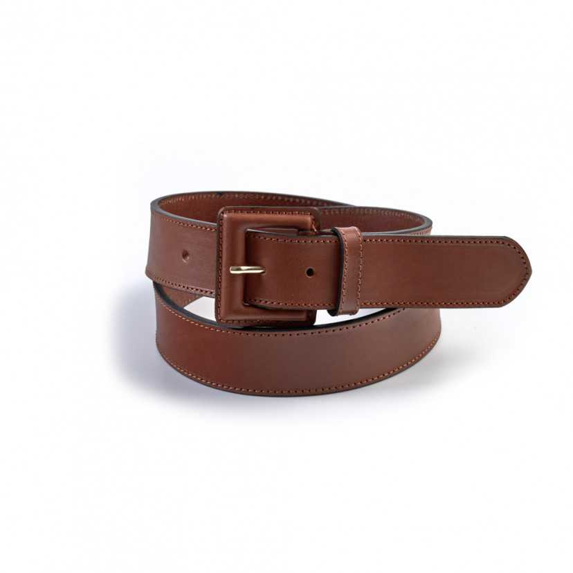 Cinturón ancho de piel hebilla forrada