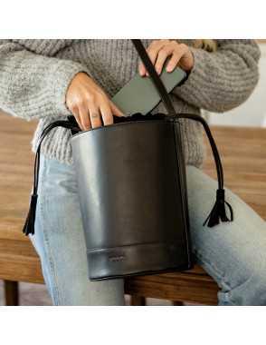 Round Bucket Bag - Black