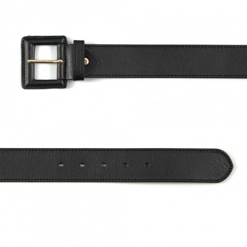 Cinturón ancho de piel hebilla forrada negro