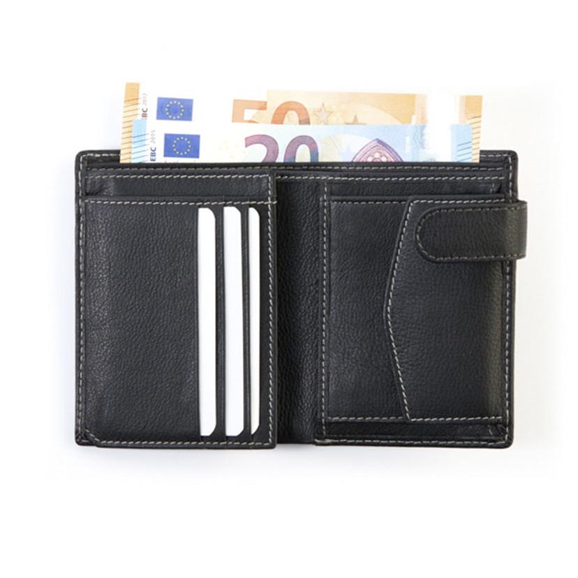cartera de piel con broche negra monedero interior