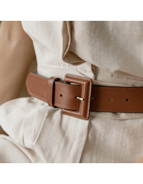 Wide leather belt with...