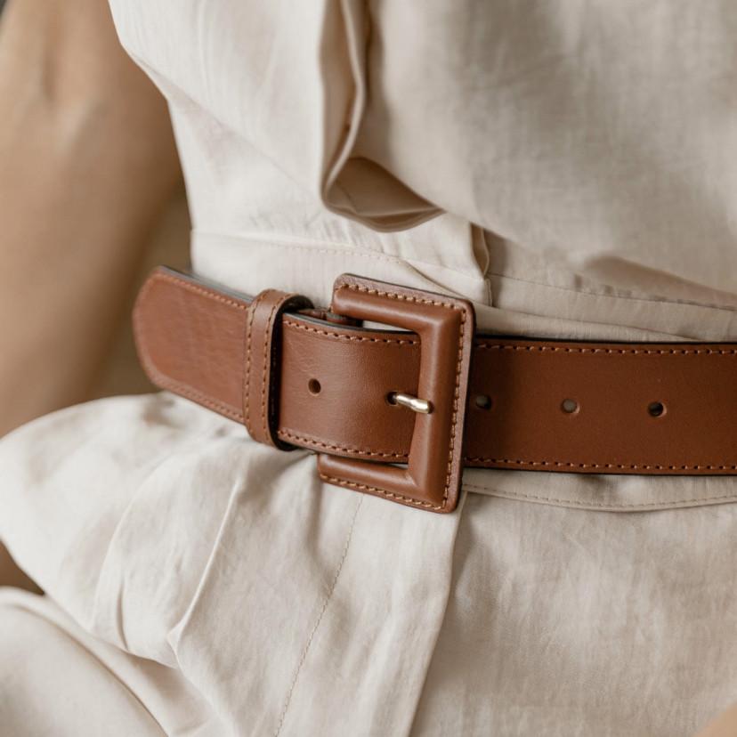 Cinturón ancho mujer de piel hebilla...
